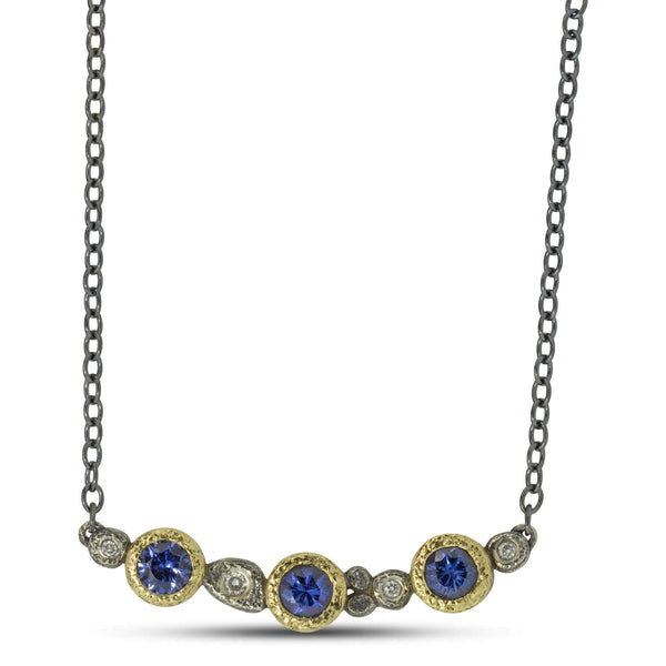 Custom Sapphire and Diamond Necklace
