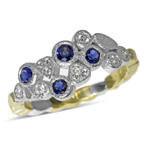 Custom Dancing Diamonds Ring with sapphires
