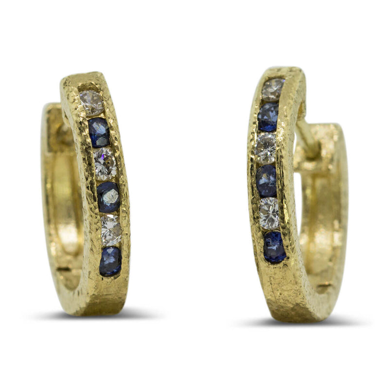 Custom Hinged Hoop Gold Earrings with sapphire and diamonds