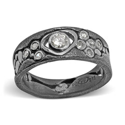 Custom Narrow River Pebbles Ring with diamonds