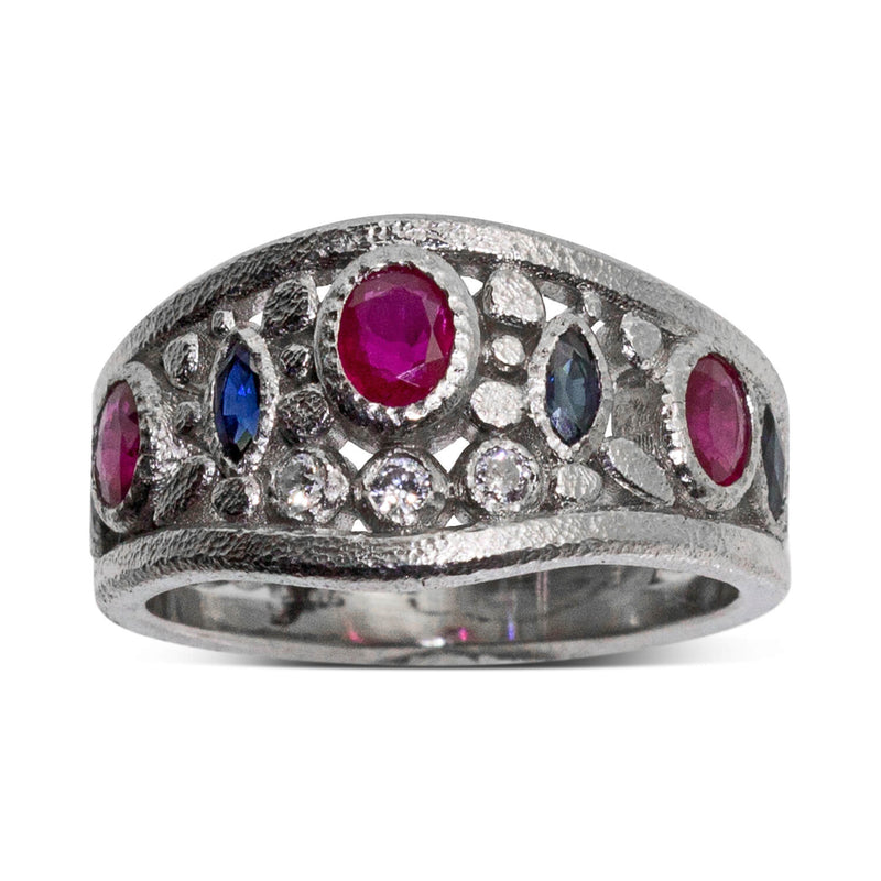 Custom Ruby, Sapphire and Diamond Ring