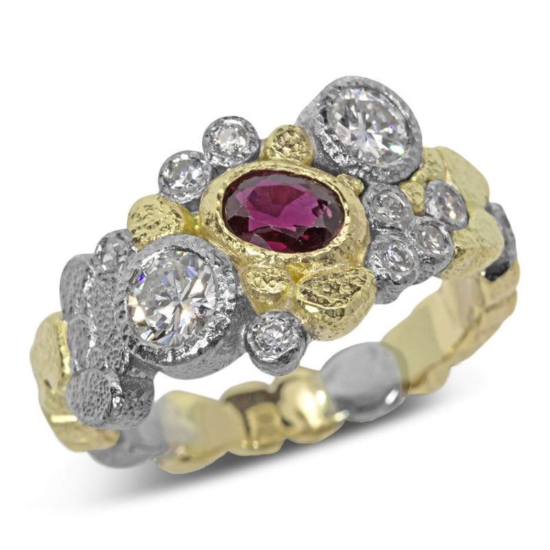 Custom Dancing Diamonds Ring with Ruby