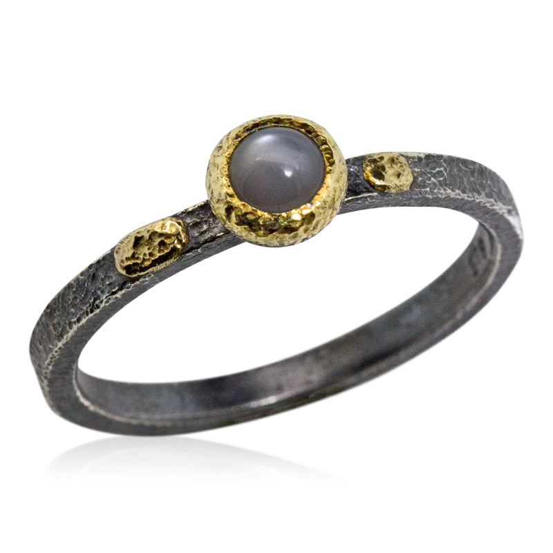 Textured Pebbles Grey Moonstone ring