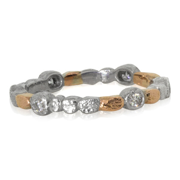 Skinny Pebbles Band in Palladium and 18k rose gold with diamonds