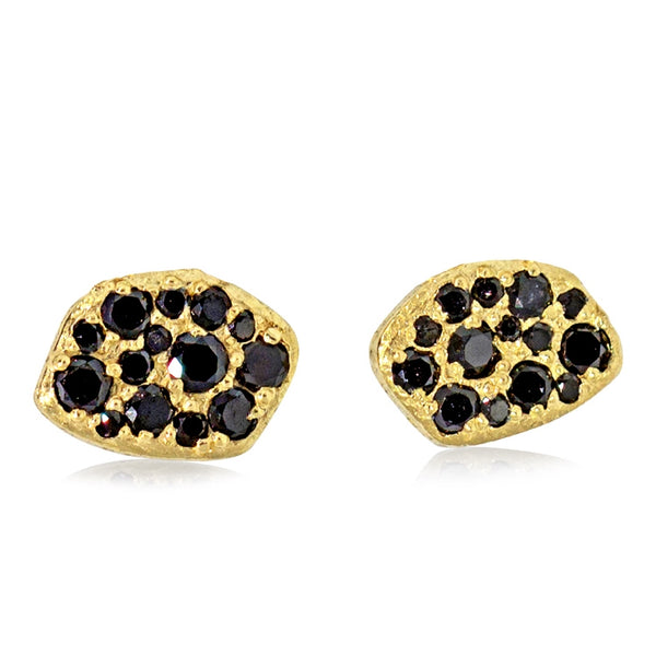18K pave pebble stud earrings with black diamonds