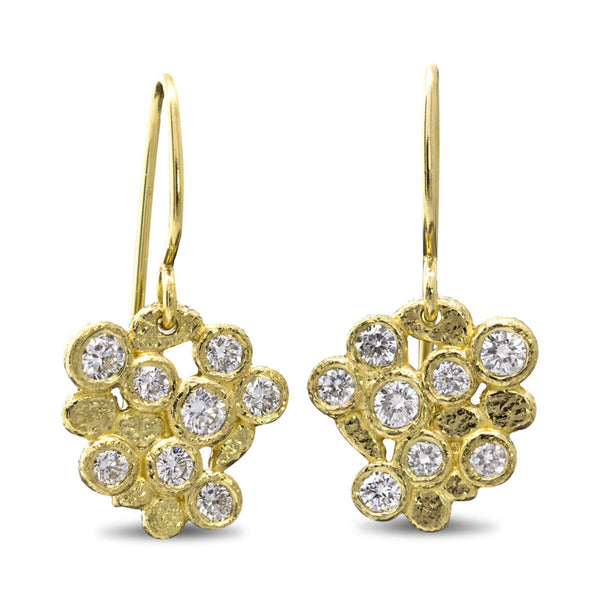 Diamond Cluster Dangle Earrings in 18k yellow gold
