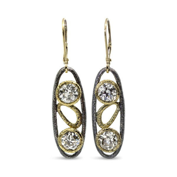 Custom open oval dangle earrings with diamonds