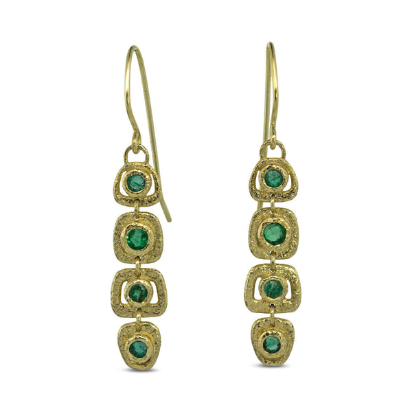 Open Pebble Organic Shape Earrings with emeralds