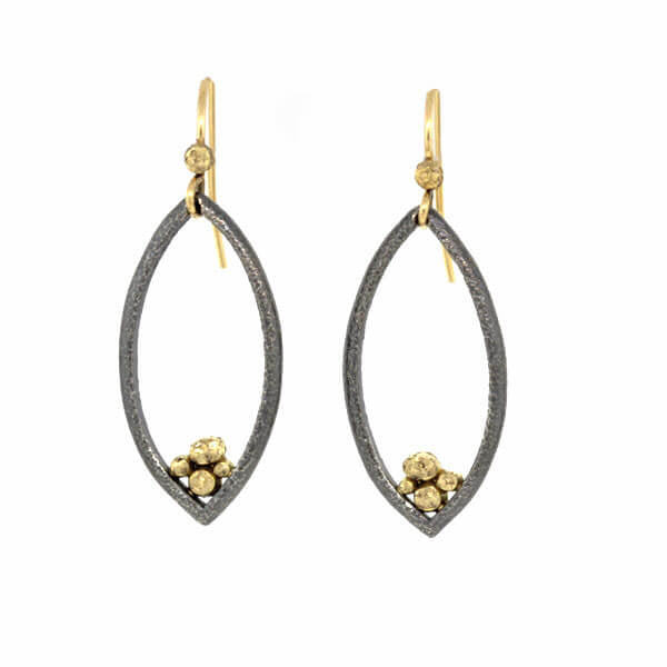 Open Marquise-Shaped Pebble Earrings