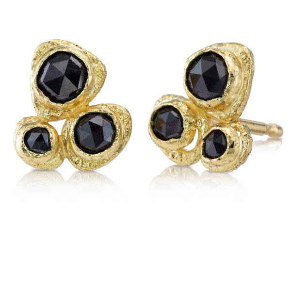 Gold Pebble Black Diamond Pebble Stud Earrings