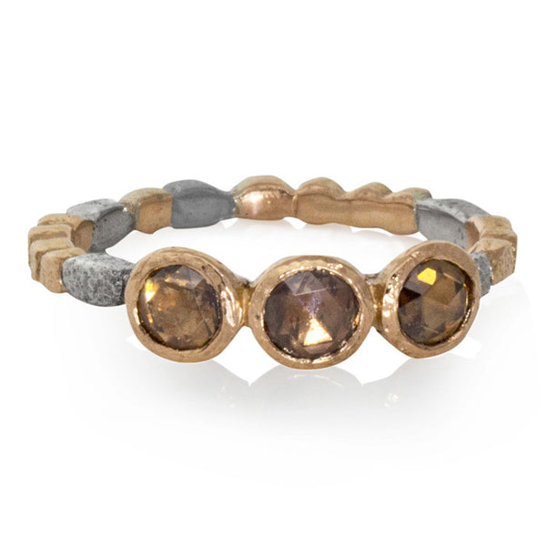 Skinny Pebbles Ring with Rose-cut Cognac diamonds in palladium and rose gold