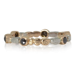 Skinny Pebbles Band in Palladium and 18k rose gold with rose cut black diamonds