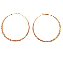 Rose Gold Hammered Hoop Earrings