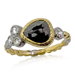 Skinny Pebbles Ring with Pear Shaped Black Diamond and Rose Cut White Diamonds