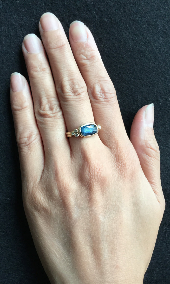 Delicate Double Sapphire Band on hand