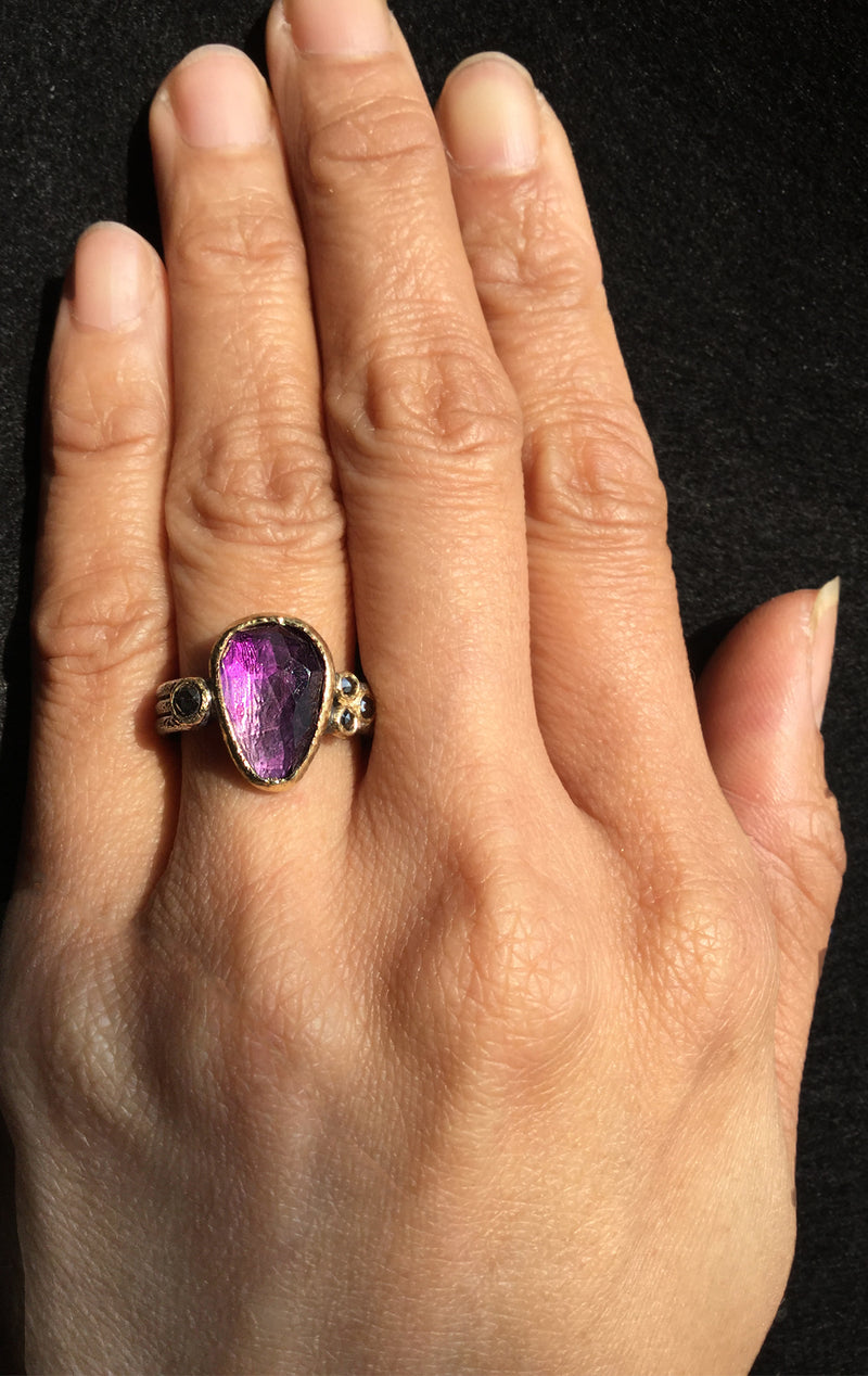 Delicate Triple Band Ring with Amethyst on hand