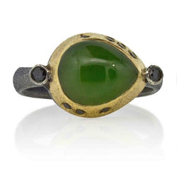 Pear Shaped Jade Ring in Silver and Gold with Black Diamonds
