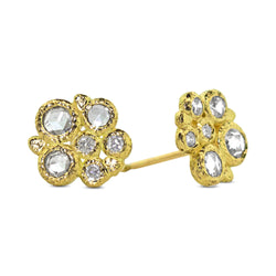 Diamond Cluster Stud Earrings in 18k yellow gold