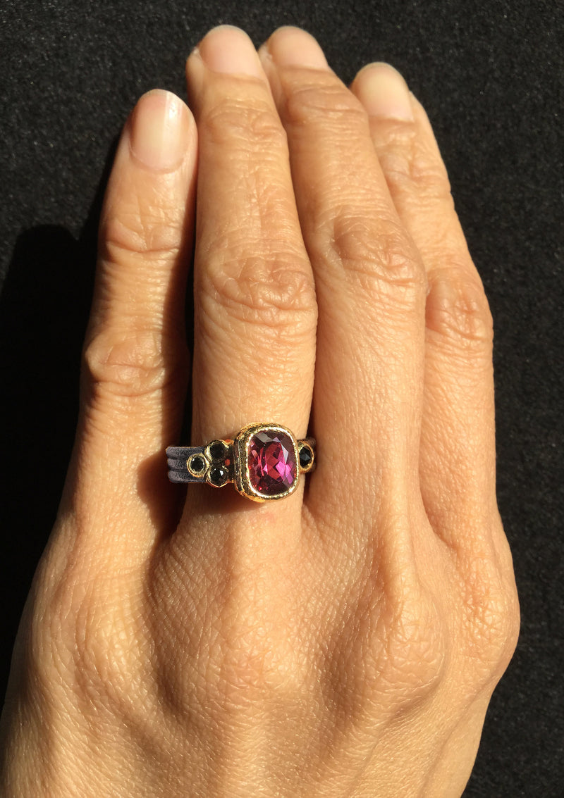 Double Triple Rhodolite Ring hand