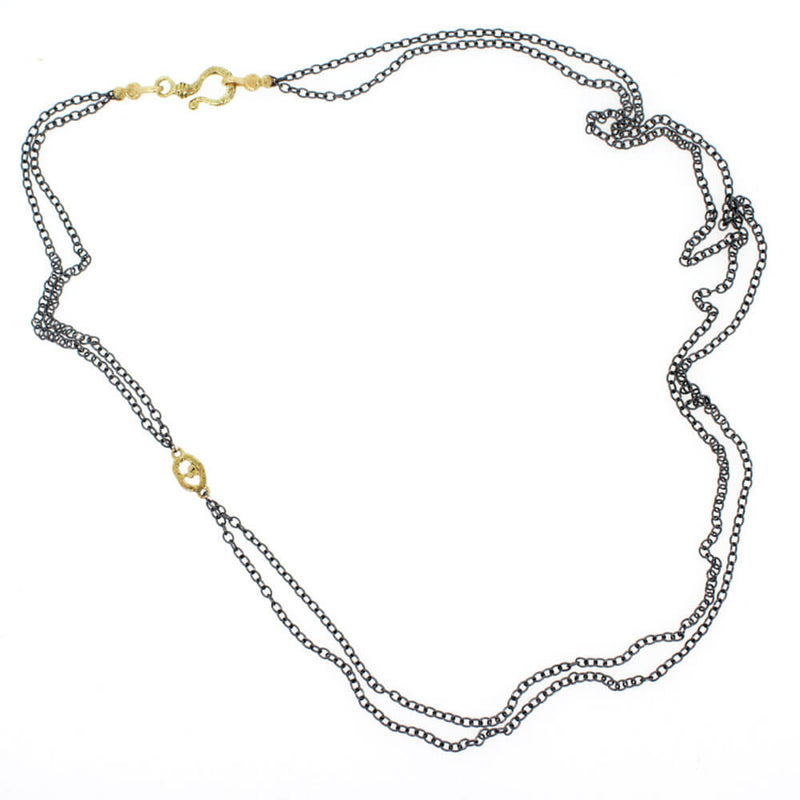 Double Cable Chain Necklace with Open Pebble