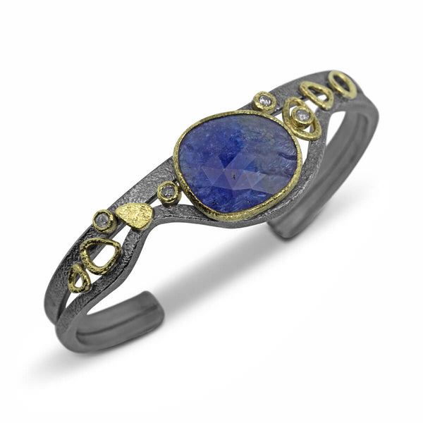 Double Cuff Bracelet with tanzanite