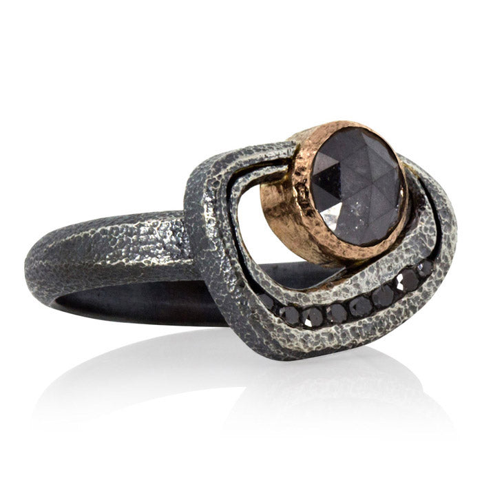 Open Pebble Ring with Round  Black Diamond in Silver and Rose Gold