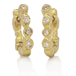 Gold Little Pebbles Hinged Hoop Earrings with White Diamonds