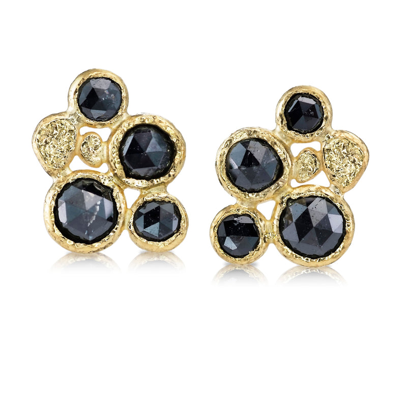 Four Rose Cut  Black Diamond Stud Earrings with 18k gold pebbles