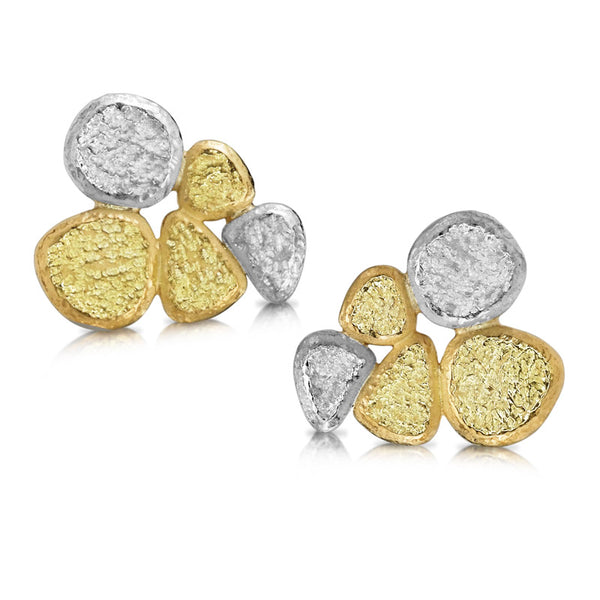 Rock Pile Post Earrings in 18K yellow gold and palladium