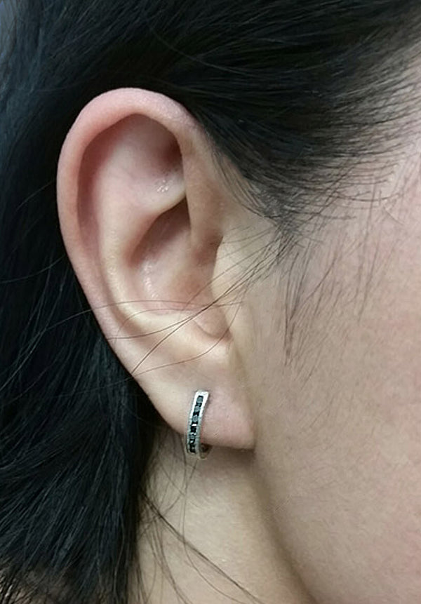 Hinged Hoop Black Diamond Earrings in Palladium