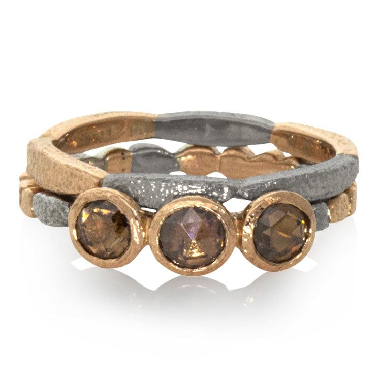 skinny pebbles ring with rose cut cognac diamonds and  long pebbles band and stack