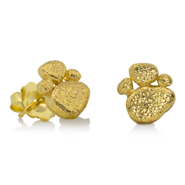 Golden Pebble Stud Earrings