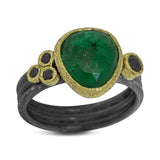 Delicate Triple Band ring with free form emerald