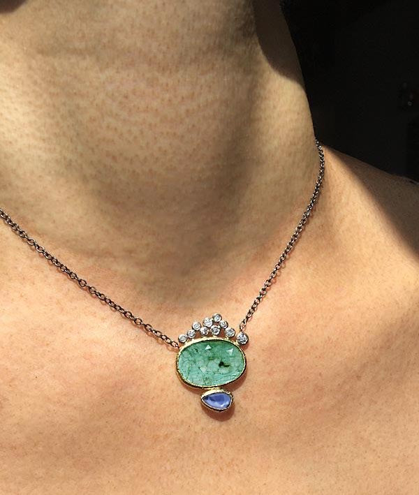 Emerald and Sapphire Pendant with diamonds on neck