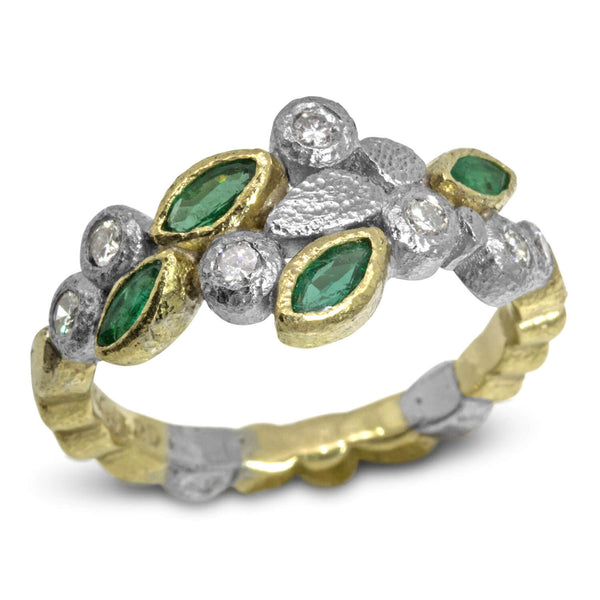 Custom Dancing Diamonds Ring with marquise emeralds