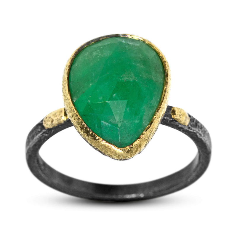 Textured Pebbles Emerald Ring