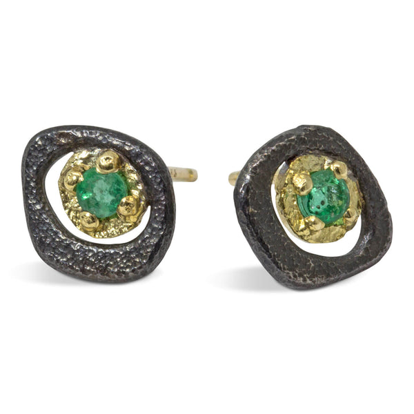 Emerald Pebble Stud Earrings