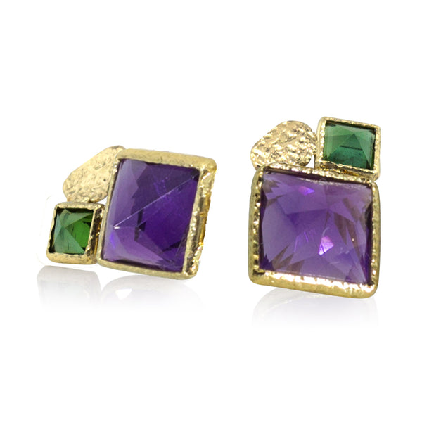 Square amethyst and Green Tourmaline Stud Earrings