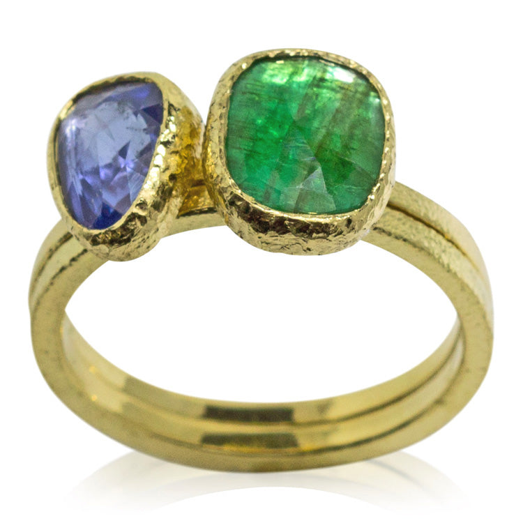sapphire and emerald stack rings