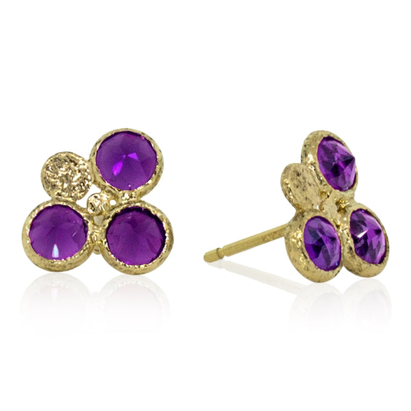 Trio Round Amethyst Stud Earrings in 18k gold