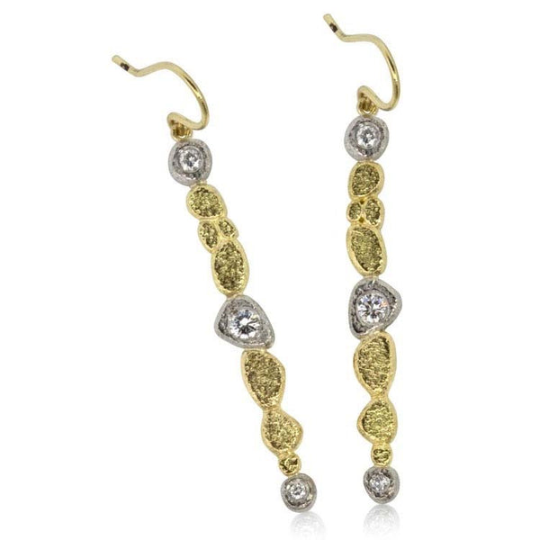 Pebble Stick Earrings in Palladium and 18k Yellow Gold with Grey Diamonds