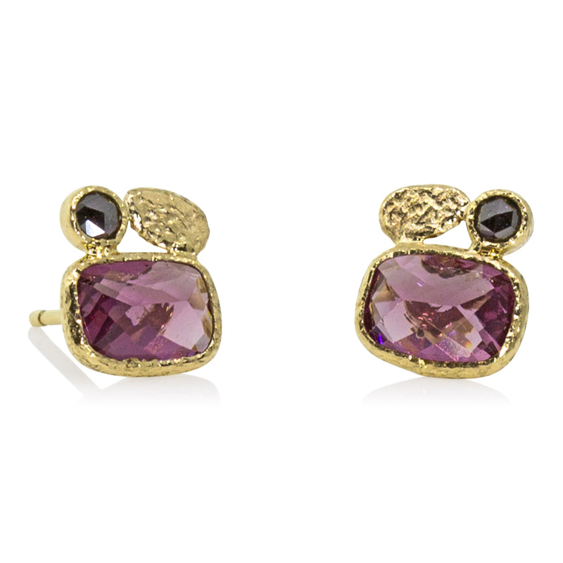 Cushion Cut Rhodolite Stud earrings