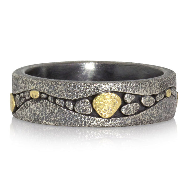 River Band in Oxidized Silver and Gold
