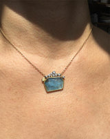 Geometric Aquamarine pendant on neck