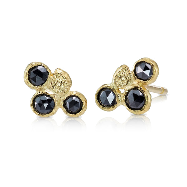 3 rose cut black diamond stud earrings