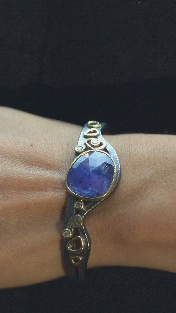 Double Cuff One-of-a-Kind Tanzanite Bracelet with diamonds