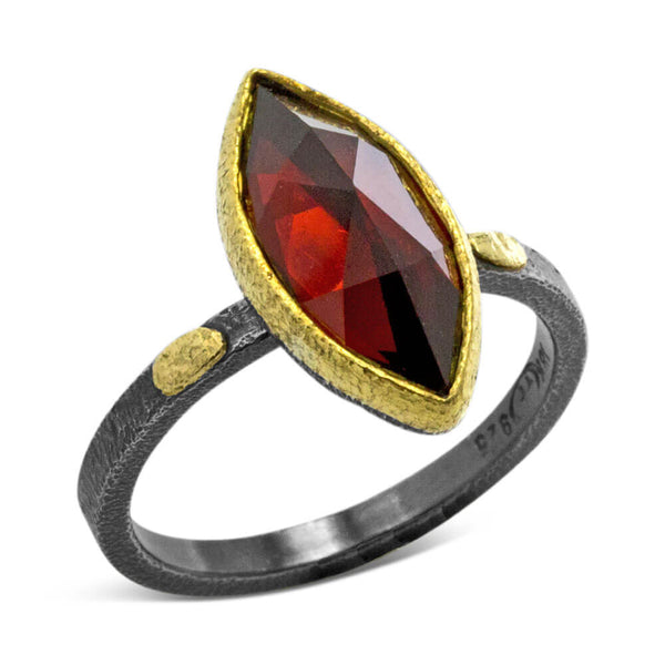 Textured Pebbles Marquise Garnet Ring