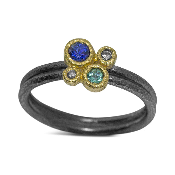 Delicate Double Band Gemstone Ring