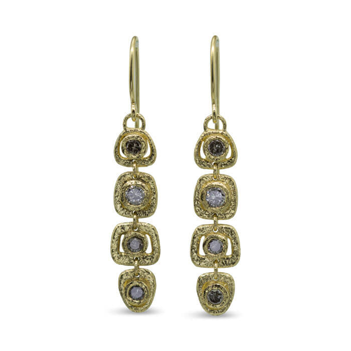 Open Pebble Organic Shape Earrings with diamonds