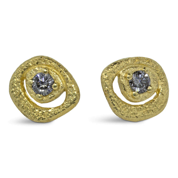 Diamond Pebble Stud Earrings in 18k yellow gold
